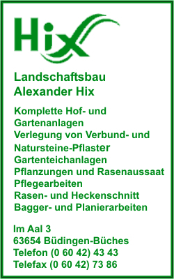 firma landschaftsbau alexander hix in b dingen branche n garten und landschaftsbau. Black Bedroom Furniture Sets. Home Design Ideas